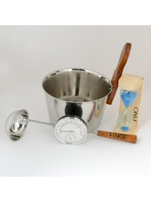 Luxury Finnish Sauna Bucket in Stainless Steel, Matching Ladle, Thermometer/Hygrometer and Sand Timer Kit