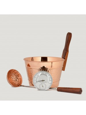 Luxury Finnish Sauna Bucket in Copper, Matching Ladle and Thermometer/Hygrometer Kit