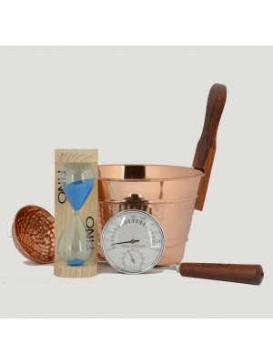 Luxury Finnish Sauna Bucket in Copper, Matching Ladle, Thermometer/Hygrometer and Sand Timer Kit