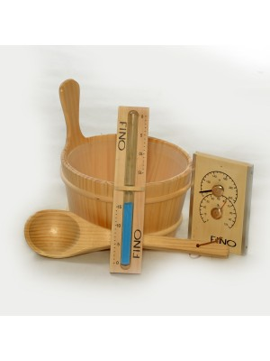 Wooden 1 Gallon Finnish Sauna Bucket, Matching Ladle, Thermometer/Hygrometer and Sand Timer Kit