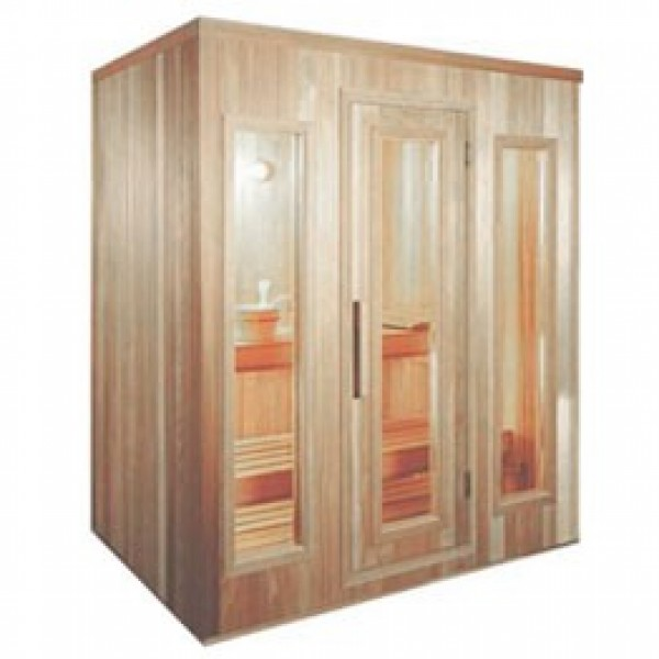 PB46 Pre-Built Sauna with CLEAR Glass Douglass Fir Door (Shown with Right Hinge Door and CLEAR Glass Windows)